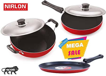Nirlon Non-Stick Aluminium Cookware Set, 3-Pieces, Red (2.6mm_FT13_FP12_DKDB) Pot & Pan Sets at amazon
