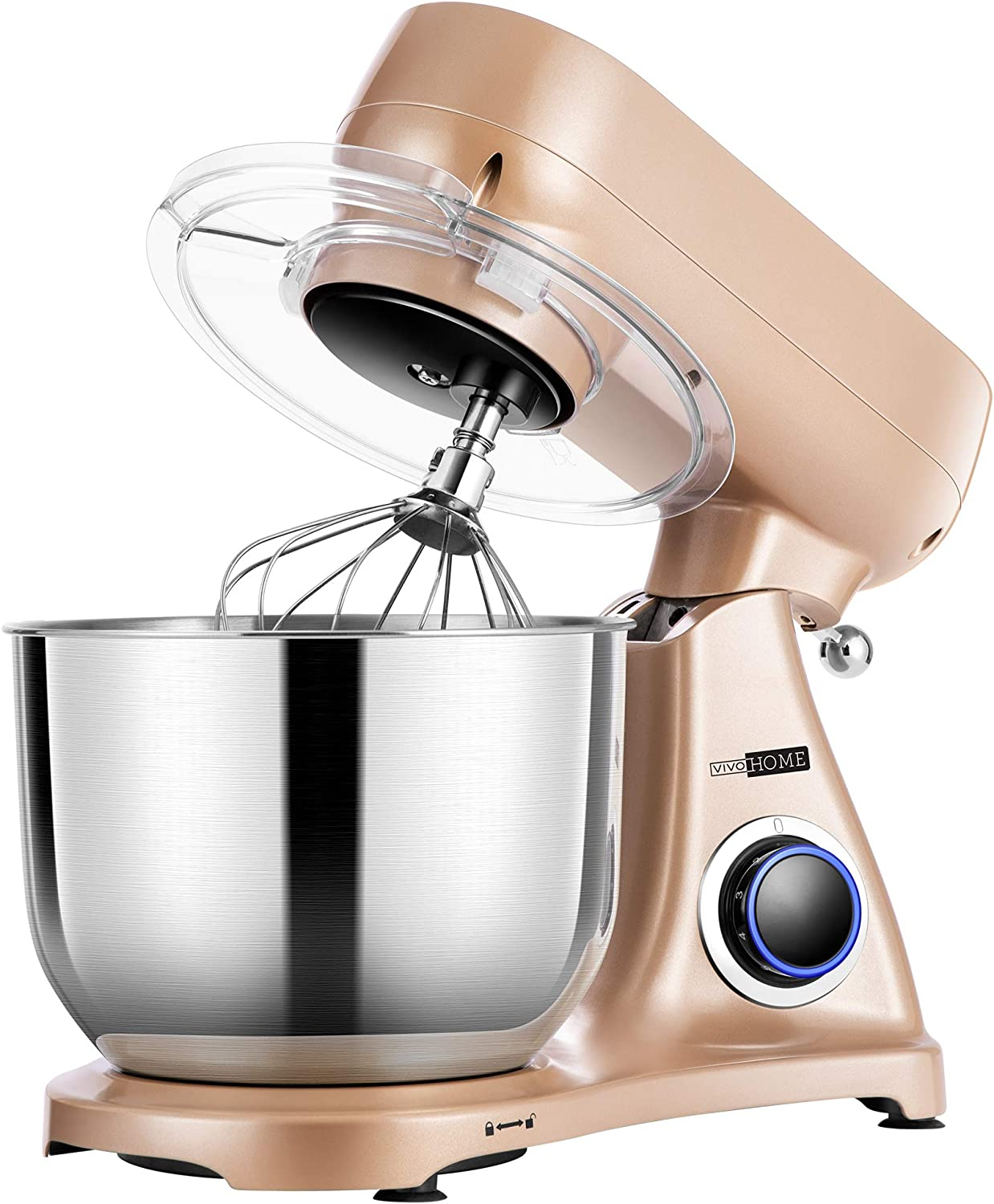 VIVOHOME 6.7 Quart 800W Stand Mixer with All-metal Housing, 6-Speed Tilt-Head Electric Food Mixer with Cast Aluminum Beater, Dough Hook and Whisk, Champagne, MET Listed