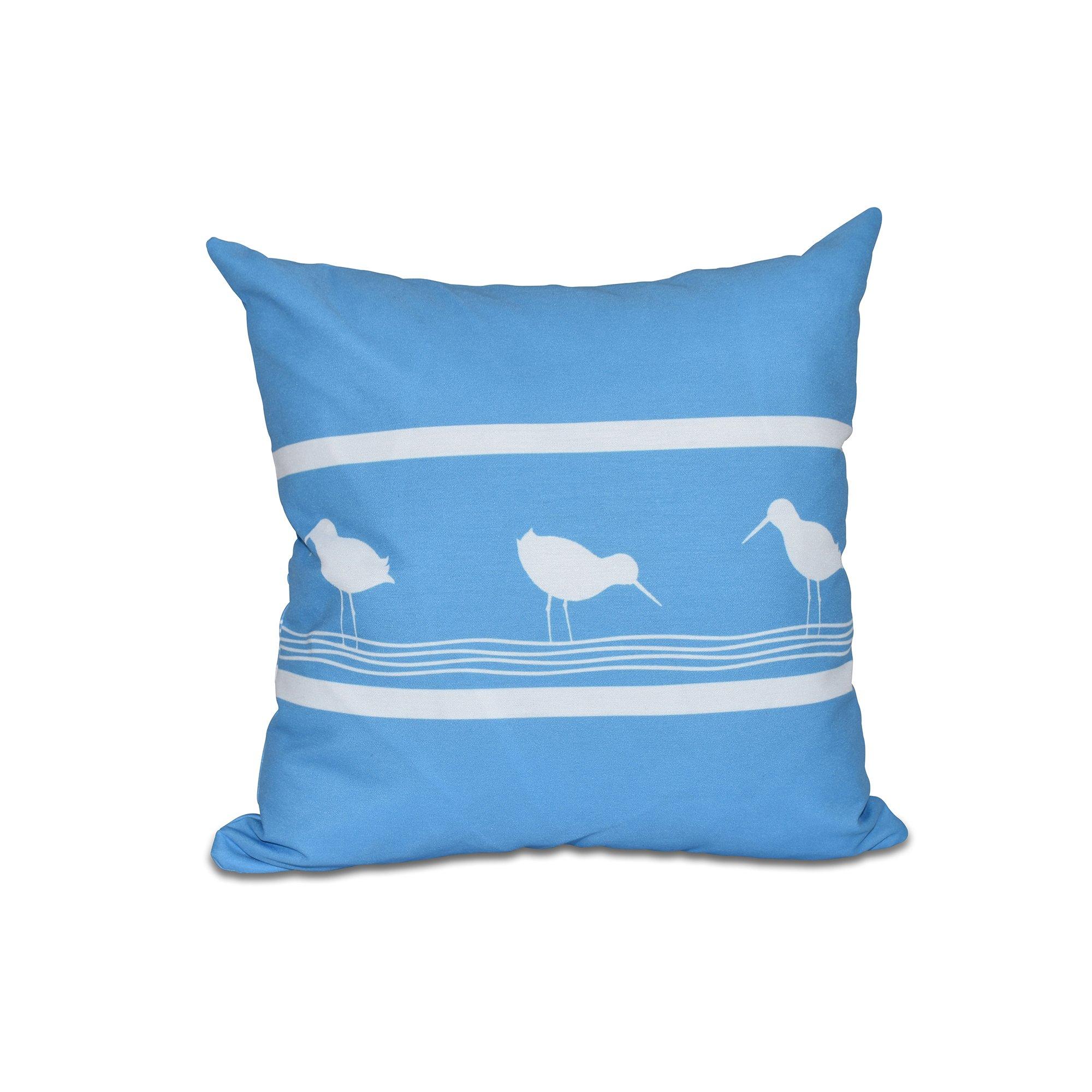 E by design 16 x 16-inch, Birdwalk, Animal Print Pillow, Blue