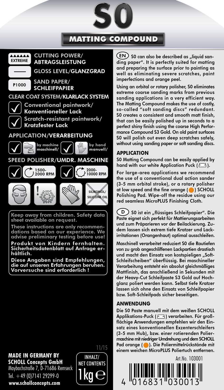 Scholl Concepts S0 Matt Paste Extreme Coarse 1 Kg Auto