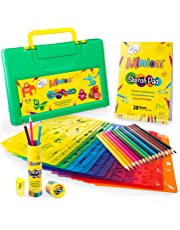 Mimtom Drawing Stencils Kit for Kids   20 PC Stencil Set with 370+ Shapes Animals, Dinosaurs, Flowers, Letters & Numbers   15 Colored Pencils, Pencil Sharpener, Sketch Pad & Carrying Case
