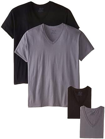 c25ba48de76 Amazon.com  Fruit of the Loom Men s V-Neck T-Shirt Multipack  Clothing