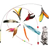 Fashion's Talk Kitten Feather Wire Wands Worm Teaser Wand Cat Toy with Replacement Pack