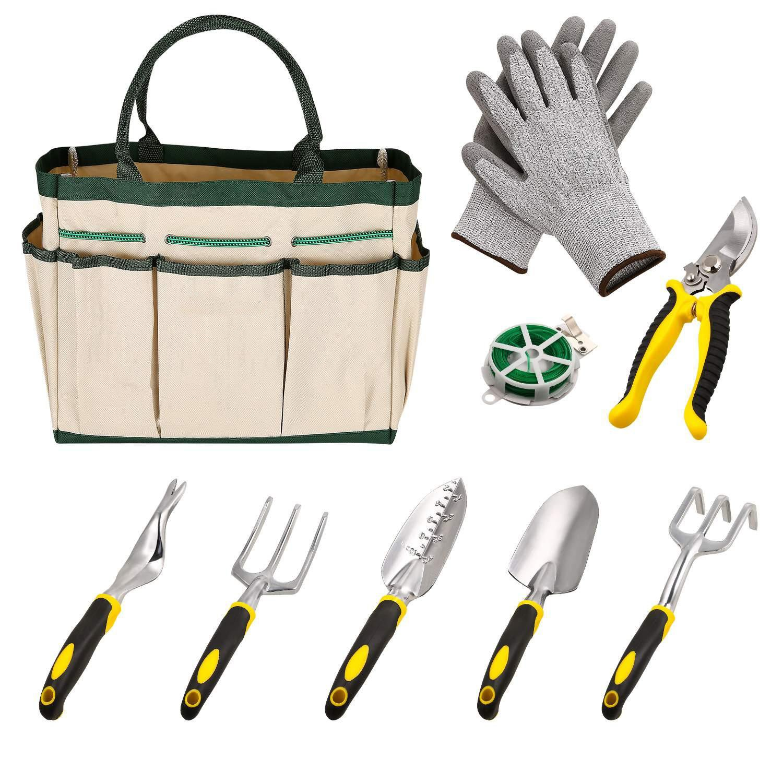 Dtemple 9pcs Ergonomic Garden Tools,Heavy Duty Gardening,Aluminum Hand Tool Kit Set Gloves/Tote/Pruner/Weede/ Rope/Cultivator (White)