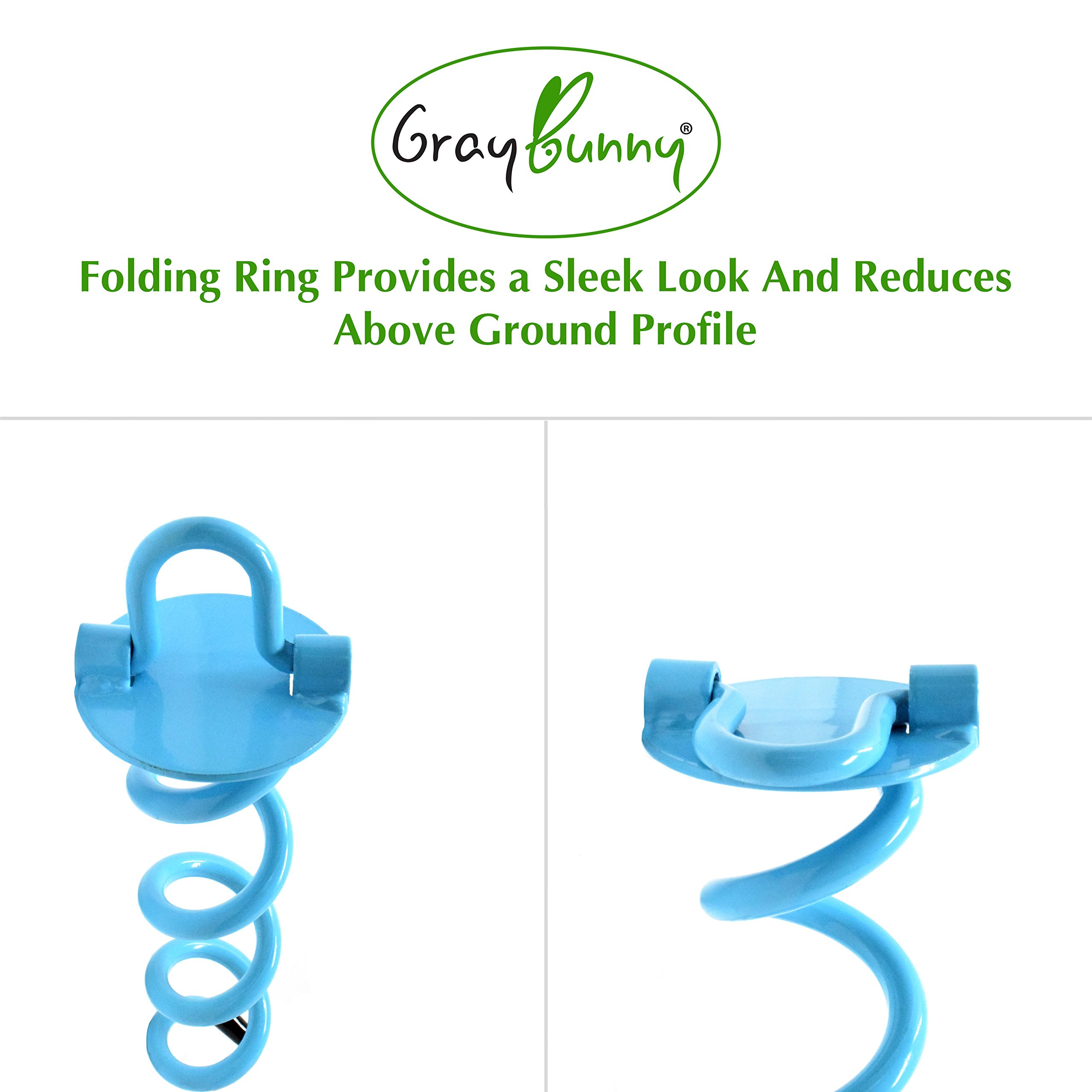 GrayBunny GB-6873B4 Spiral Ground Anchor, 16 inches, 4-Pack Kit, with Torque Bar and Carrying Sack, Folding Ring for Securing Tents, Canopies, Tarps, Trampoline, Swing Sets, Solid Steel Earth Auger by GrayBunny (Image #2)