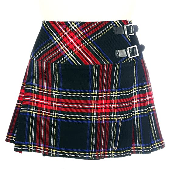 The Scotland Kilt Company Mujer Negro Stewart Mini Falda Escocesa ...