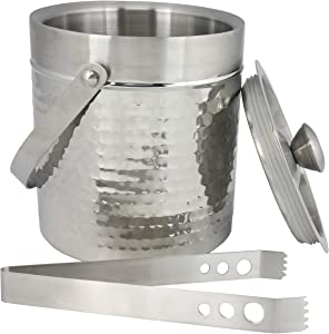 Chef Craft Hammered Double Walled Stainless Steel Ice Bucket, 2 qt
