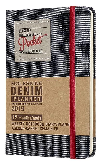 Moleskine DDN12WN2Y19 - Libreta semanal 12m de edición limitada en tela vaquera de bolsillo, color negro