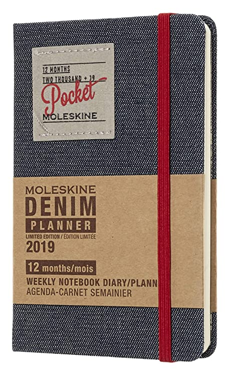 Moleskine Limited Edition Denim Collection 12 Month 2019 Weekly Planner, Hard Cover, Pocket (3.5