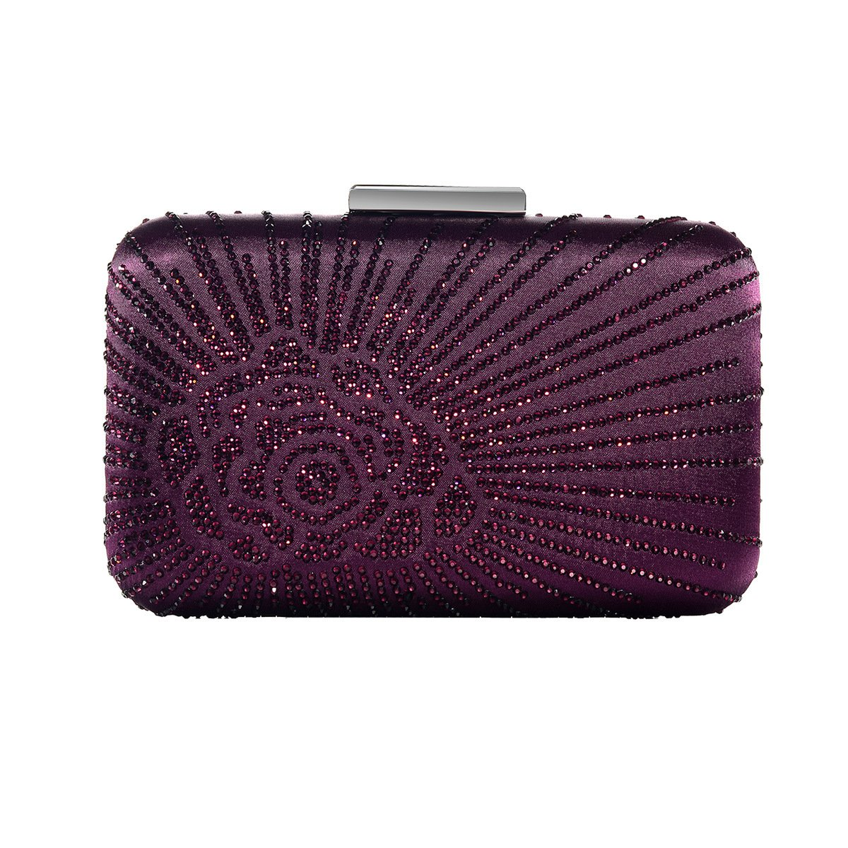 DMIX Womens Large Satin Silk Hard Clutch Evening Bag and Handbags with Crystal for Wedding Bridal Party Prom Purple