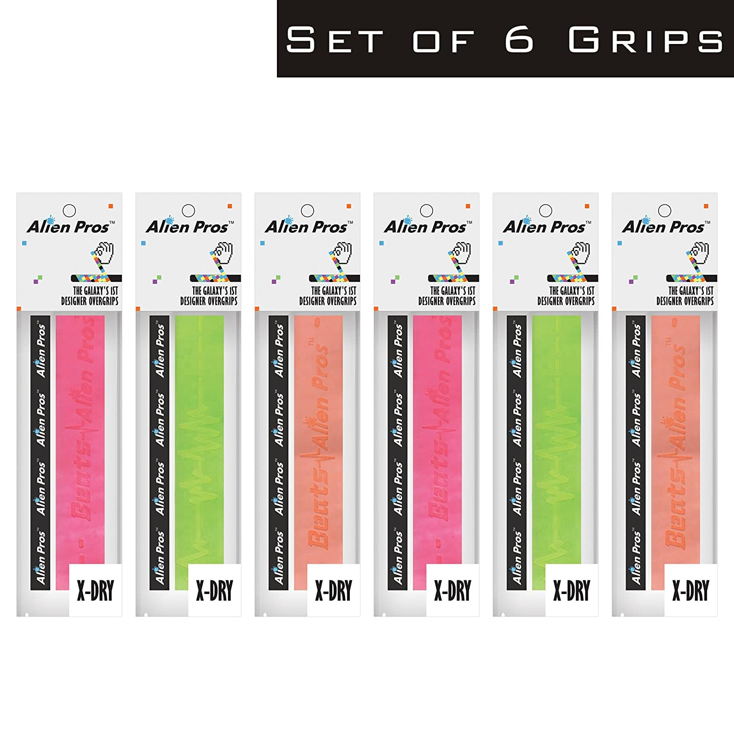 Alien Pros X-Dry Badminton Grip Tape Improve Your Hand Grip and Protect Your Badminton Rackets with New overgrip Tape from Alien in a Variety of Styles 6-Pack