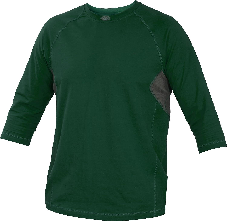 Rawlings Youth 3 / 4スリーブパフォーマンスシャツ B013I2K2TK XL|ダークグリーン ダークグリーン XL