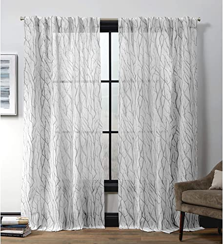 Exclusive Home Curtains Oakdale Hidden Tab Top Curtain Panel, 54×84, Dove Grey, 2 Panels