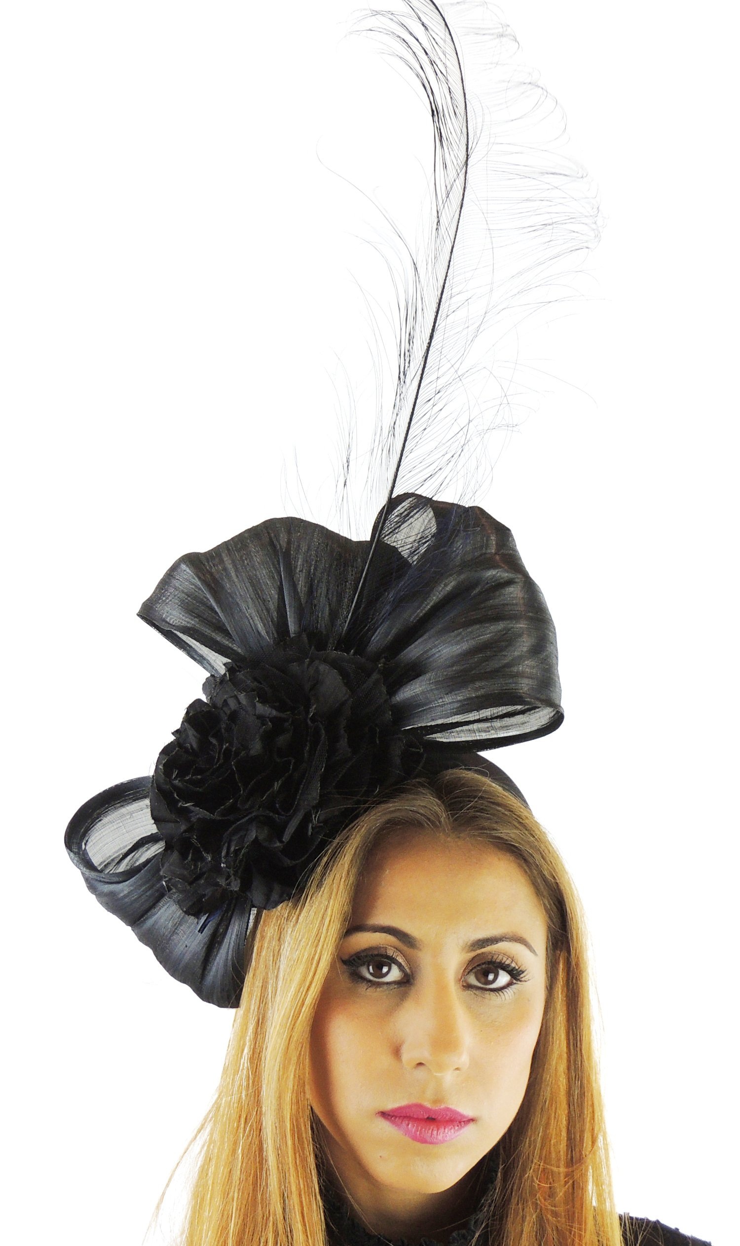Hats By Cressida Silk Sinamay & Silk Flower Elegant Ladies Ascot Wedding Fascinator Hat Black by Hats By Cressida