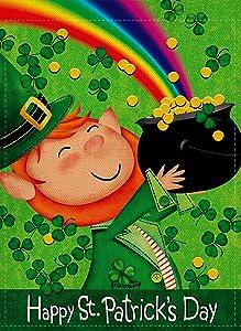 Furiaz Happy St Patrick's Day Garden Flag Leprechaun Pot of Gold Decorative House Yard Outdoor Flag Green Shamrock Lucky Clovers Burlap Spring Outside Decorations Irish Holiday Home Decor Flag 12x18