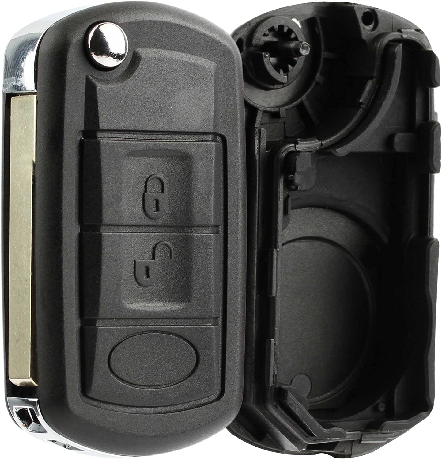 KeylessOption Keyless Entry Remote Key Fob Shell Case Button Pad Flip Key Cover Housing For Land Rover