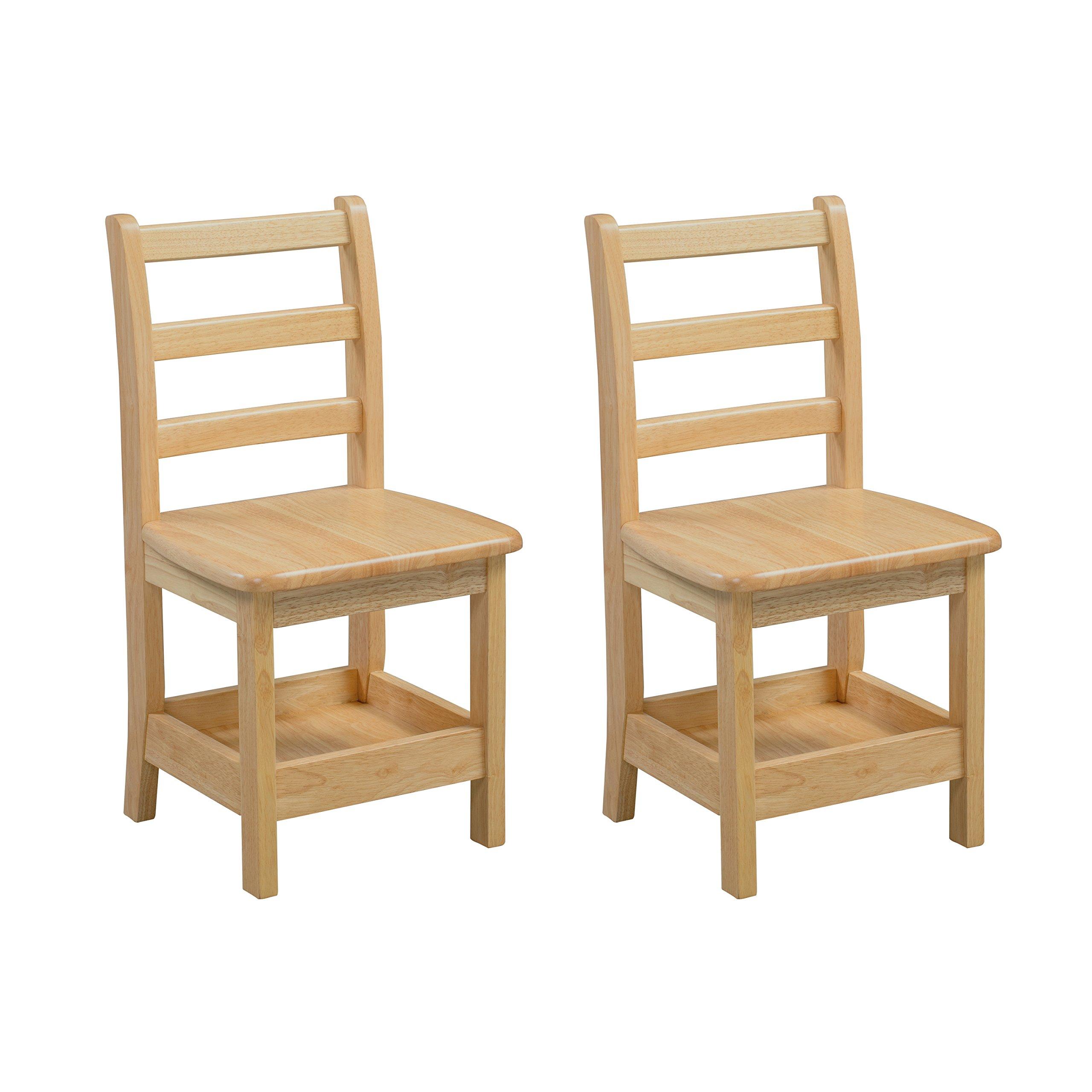 ECR4Kids Sit n' Stash Solid Wood 14 inch Kids Chair with Storage (2-Pack)