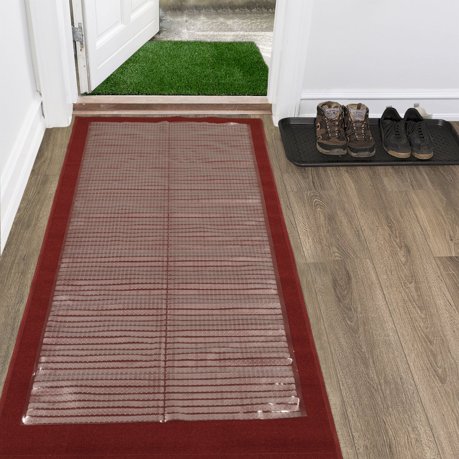 Ottomanson Multi Grip Ribbed Clear Runner Rug Carpet Protector Mat, Various Lengths 26 X 6' CCP101-26X6