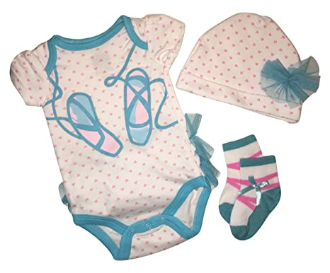 fe42956b5 Buster Brown Baby Girls Ballerina 3 Piece set - Creeper, Hat and Socks (0
