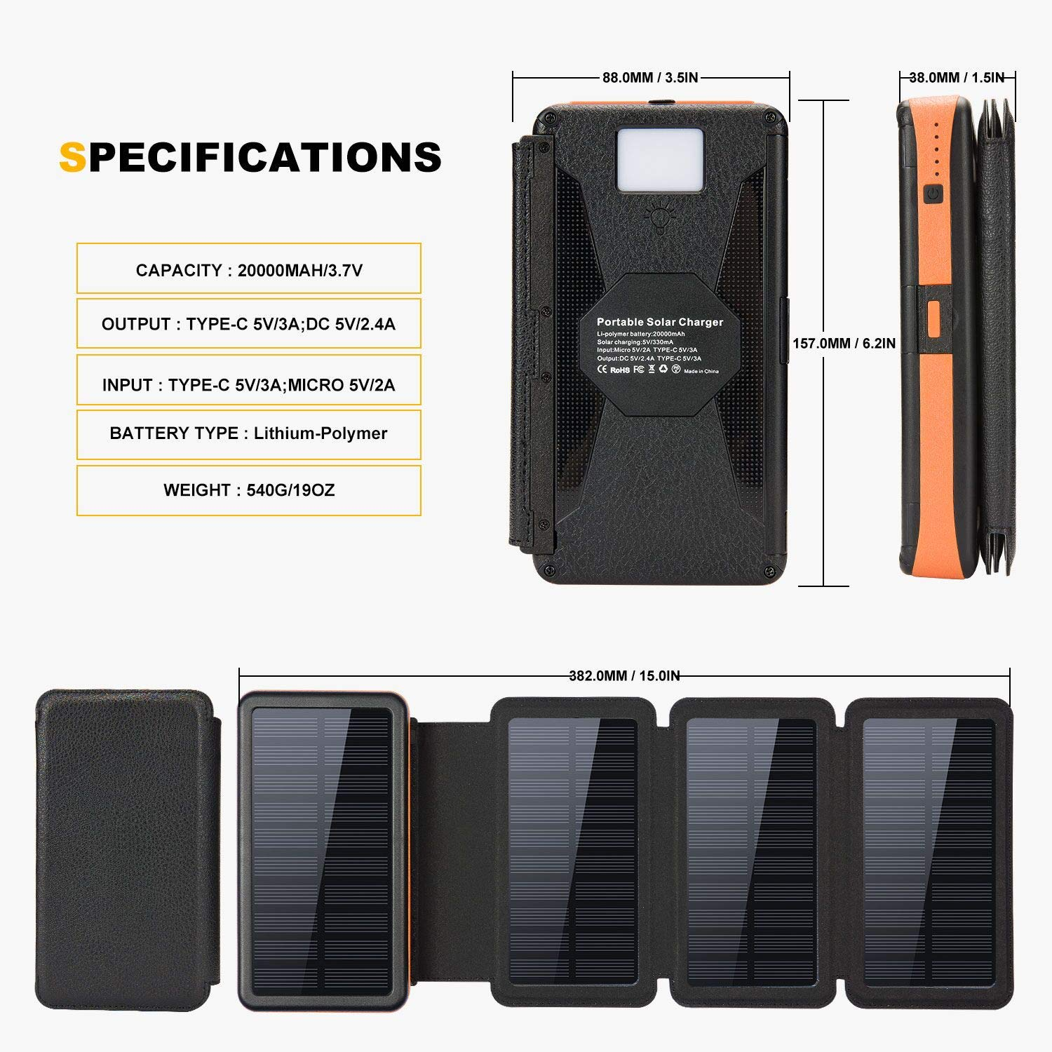 20000mAh Solar Charger with Dual 5V/2.4A Outputs and Quick Charge Type C 5V/3A Output/Input,Solar Power Bank with 4 Waterproof Foldable & Removable External Battery Pack,Works for Smartphone and More