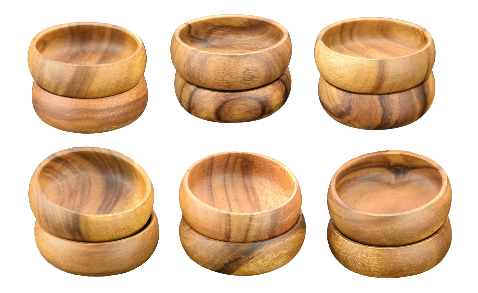 Acaciaware Acacia Wood Round Dipping Nut Bowls, Sushi Soy Sauce Bowls, 4-inch Diameter by 1.5-inch Height, Set of 12
