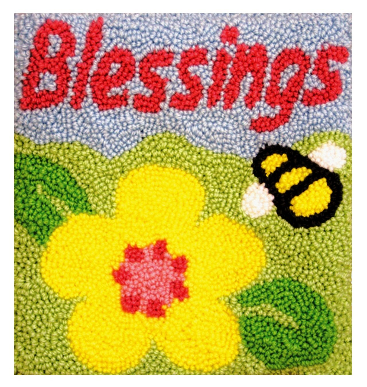 MCG Textiles Blessings Pillow Rug Yarn Punch Needle Kit by MCG Textiles