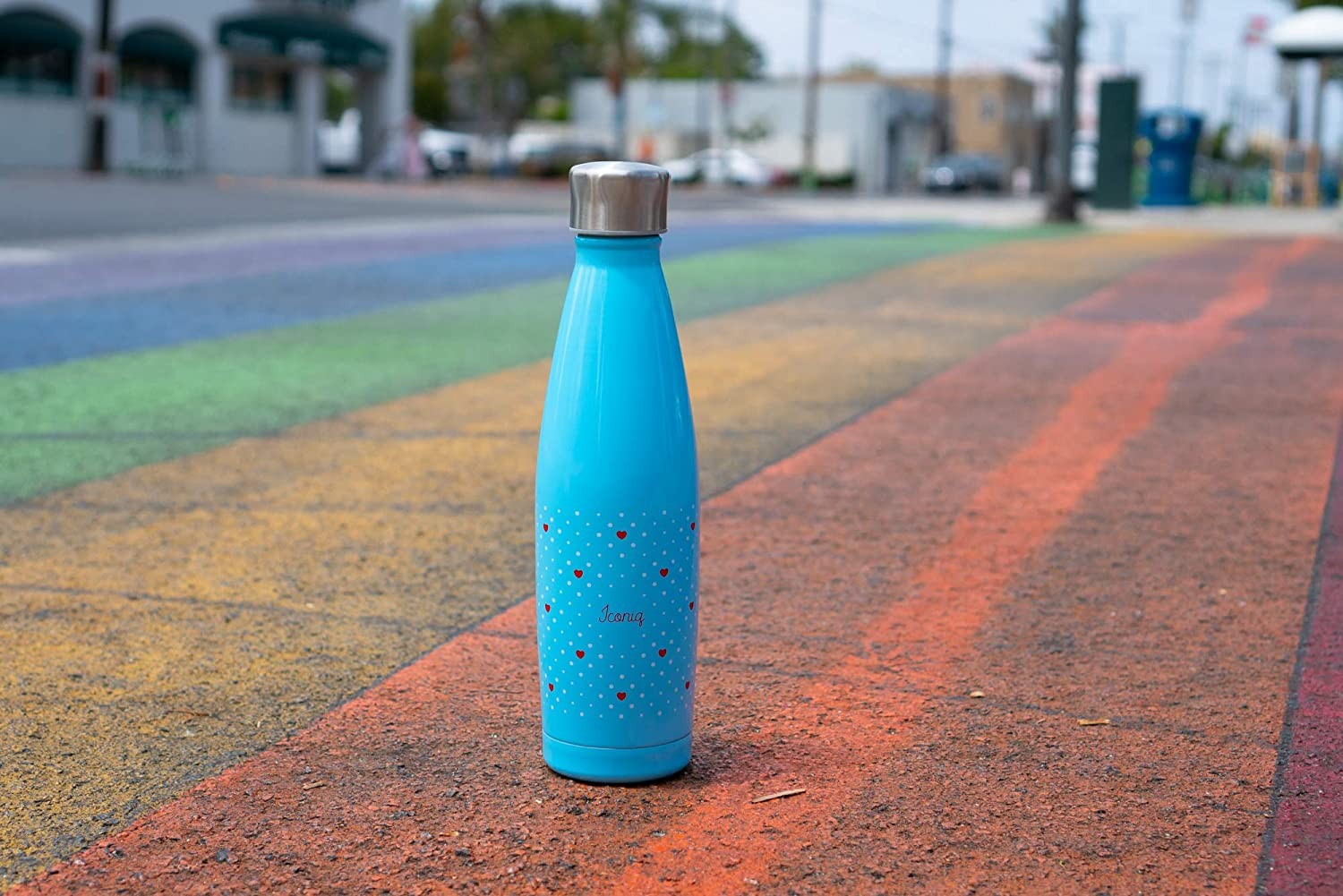 17 Ounce ICONIQ Stainless Steel Insulated Sport Bottle with Pop Up Straw Cap