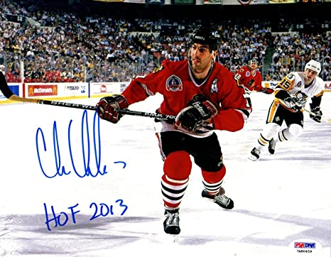 "5085f966acd PSA/DNA ITP Chris Chelios ""HOF 2013"" Autographed Signed Chicago  Blackhawks 1992"
