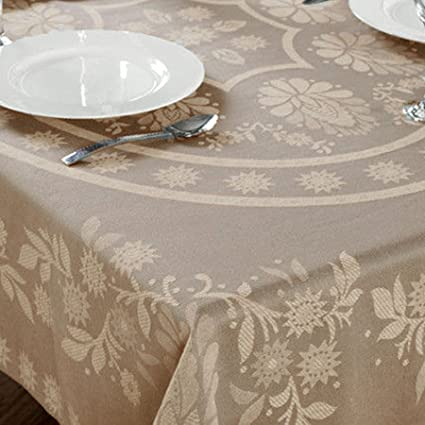 Cody Direct 100% Cotton Floral Tablecloth, Stylish ABIGAIL Design, 52x70  Oblong, Linen