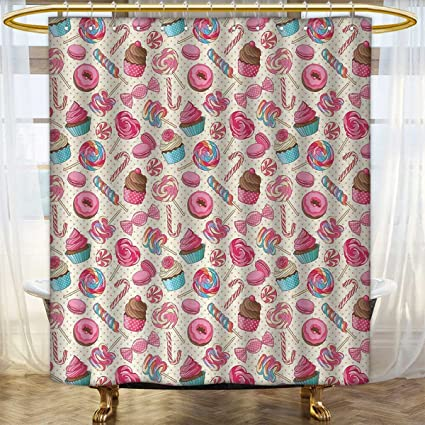Anhounine Candy Cane Shower Curtains Waterproof Yummy Sweet Lollipop Macaroon Cupcake And Donut On Polka