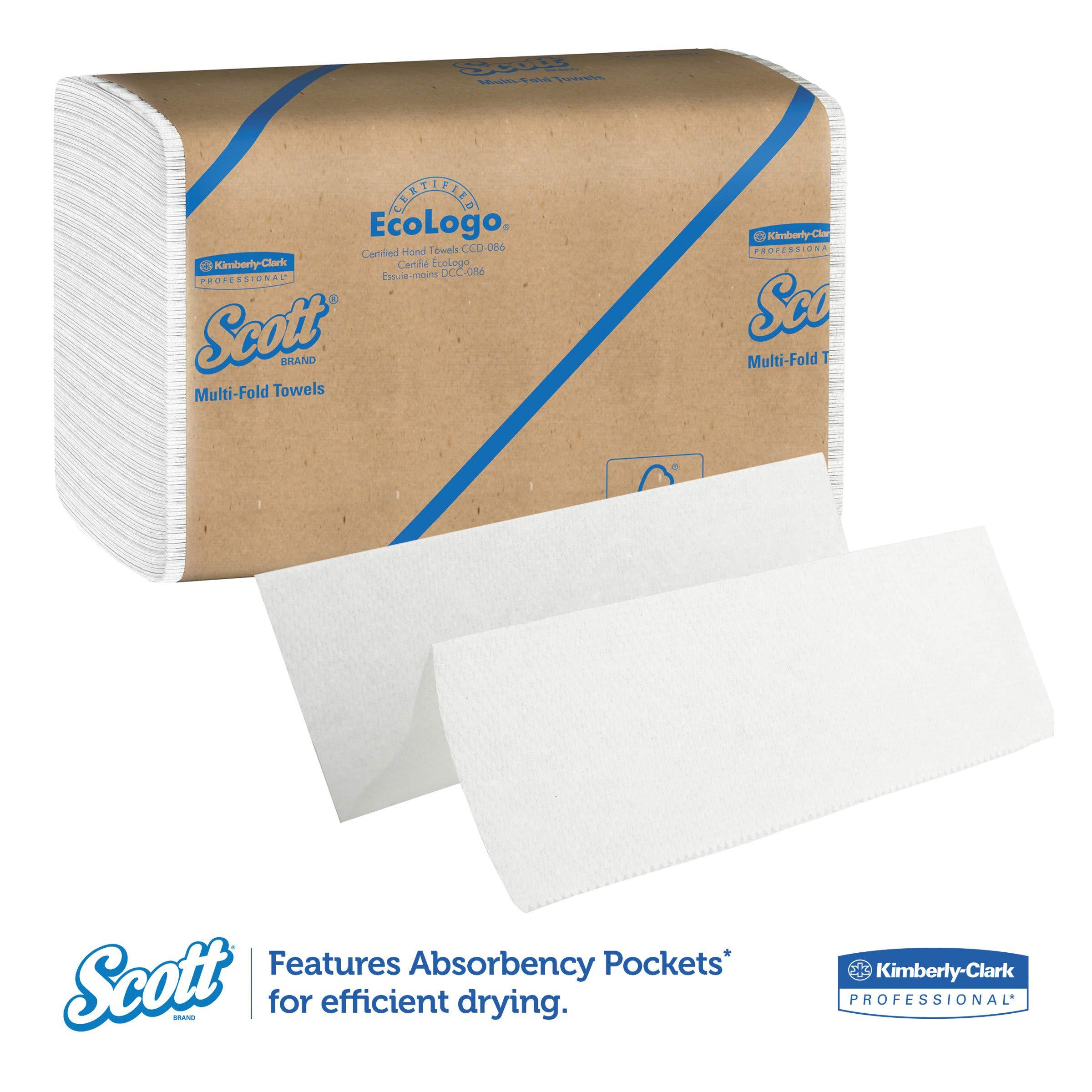 Scott 01840 Multi-Fold Towels, Absorbency Pockets, 9 1/5 x 9 2/5, 250 per Pack (Case of 16 Packs) by Scott (Image #2)