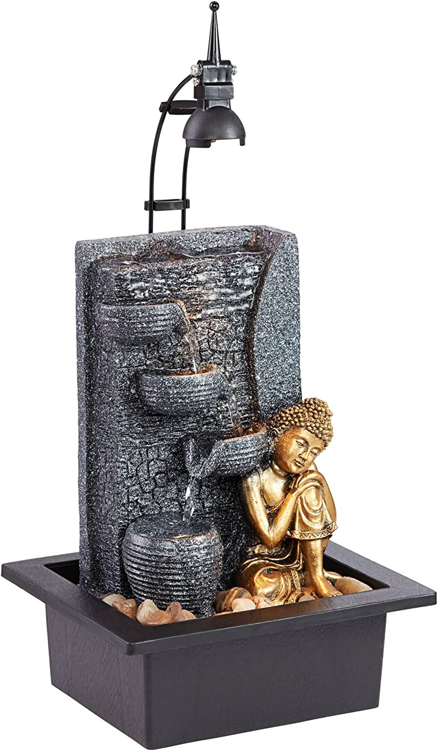 "John Timberland Kneeling Buddha Asian Zen Indoor Table-Top Water Fountain with Light LED 17"" High Cascading for Table Desk Home Office Bedroom Relaxation"