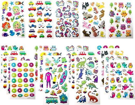 F & N Pack Pegatinas Infantiles Niñas Niños Pegatinas 3D Relieve ...