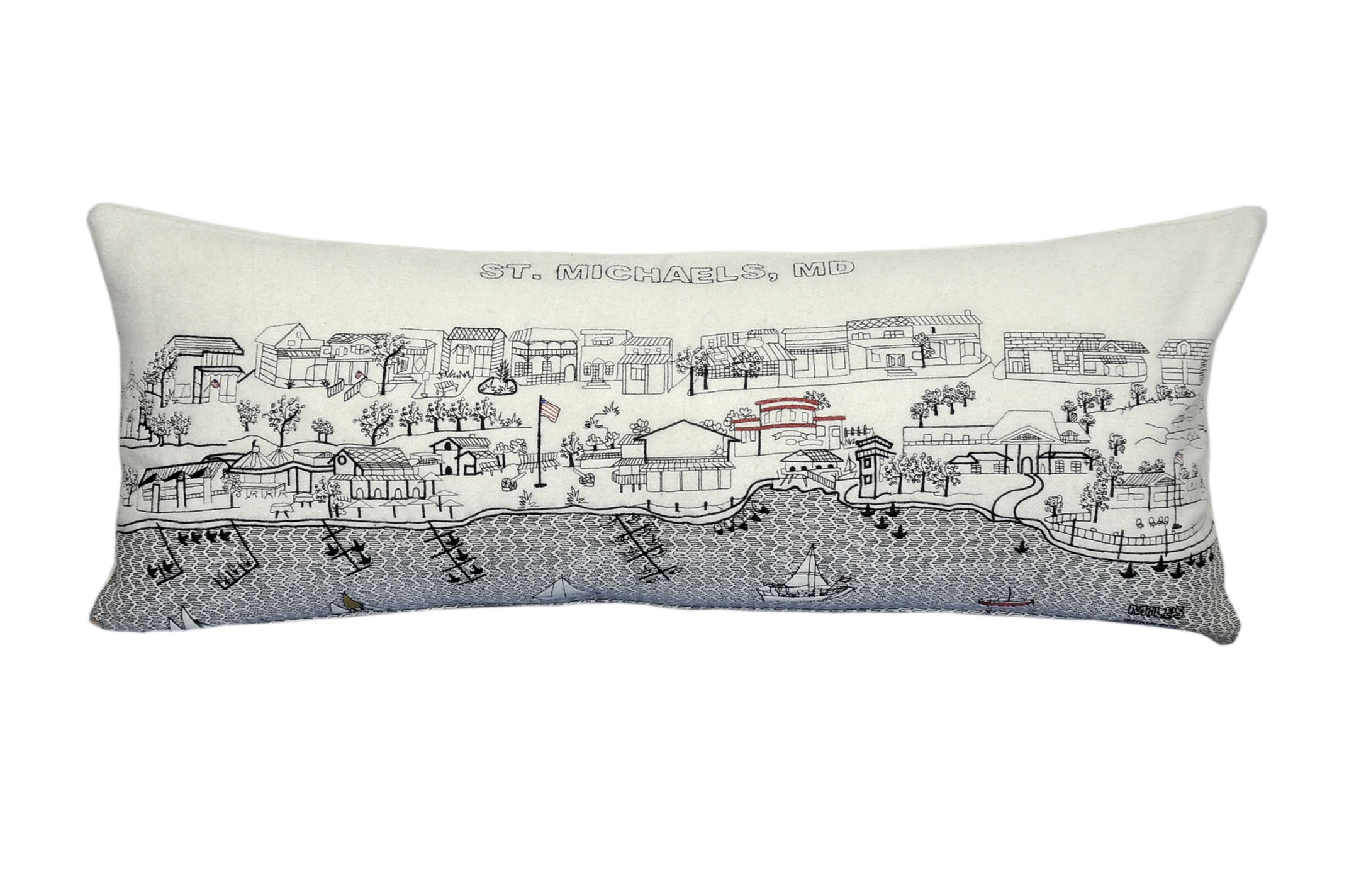 Beyond Cushions Polyester Throw Pillows Beyond Cushions St. Michaels Md Daytime Skyline Queen Size Embroidered Pillow 35 X 14 X 5 Inches Off-White Model # STM-DAY-QUN