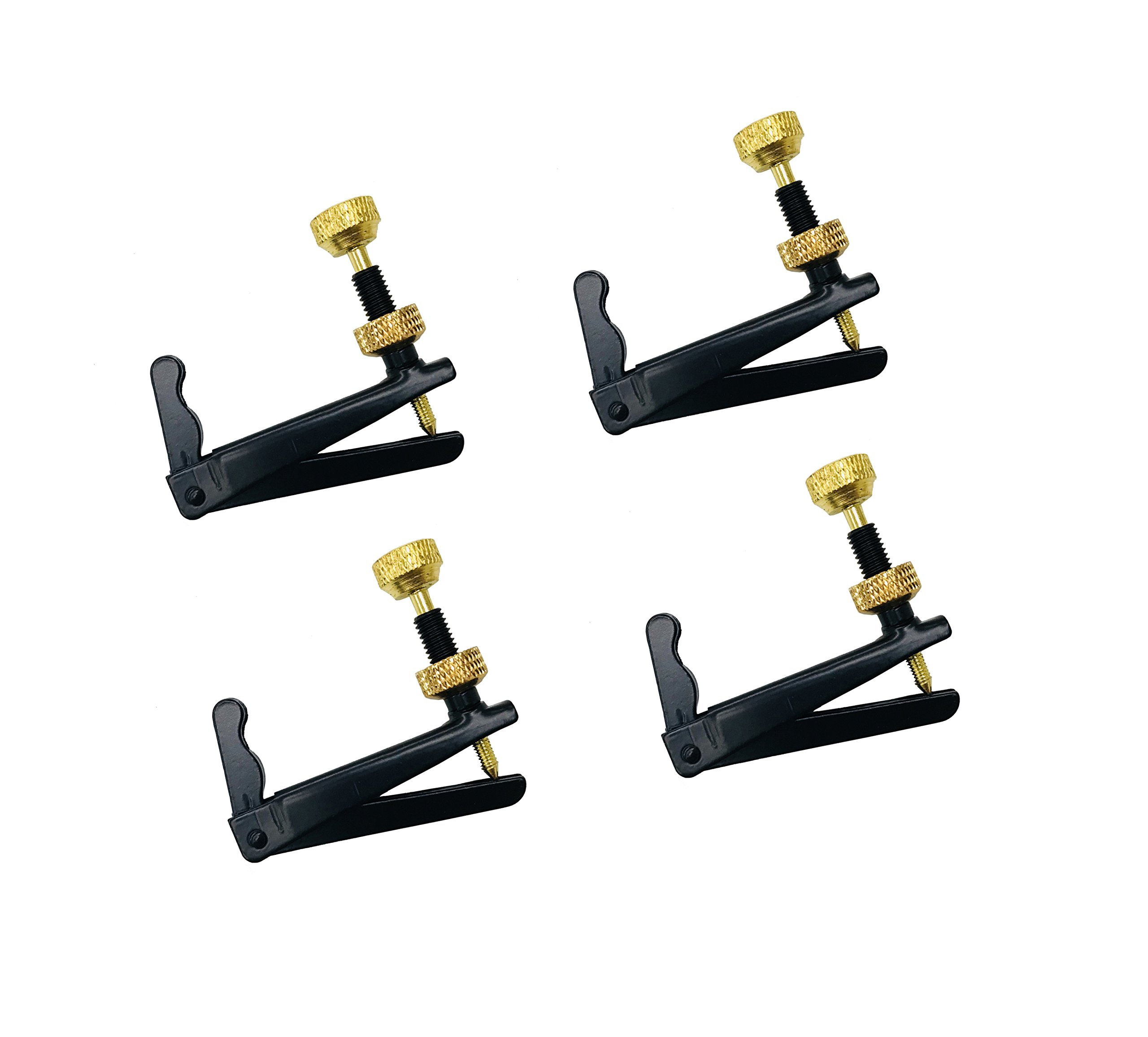 MI&VI Cello Fine Tuners Adjusters - Stainless Steel 4 Pcs (Gold/Black - 3/4-4/4 Size)