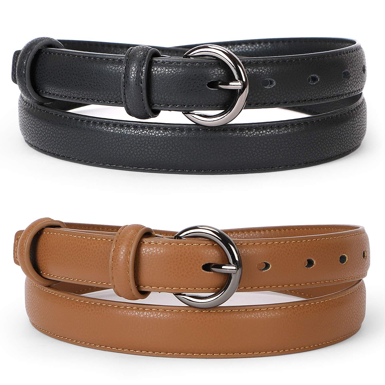 WERFORU Women Leather Belt Waist Skinny Dress Belts Solid Pin Buckle Belt For Jeans Pants