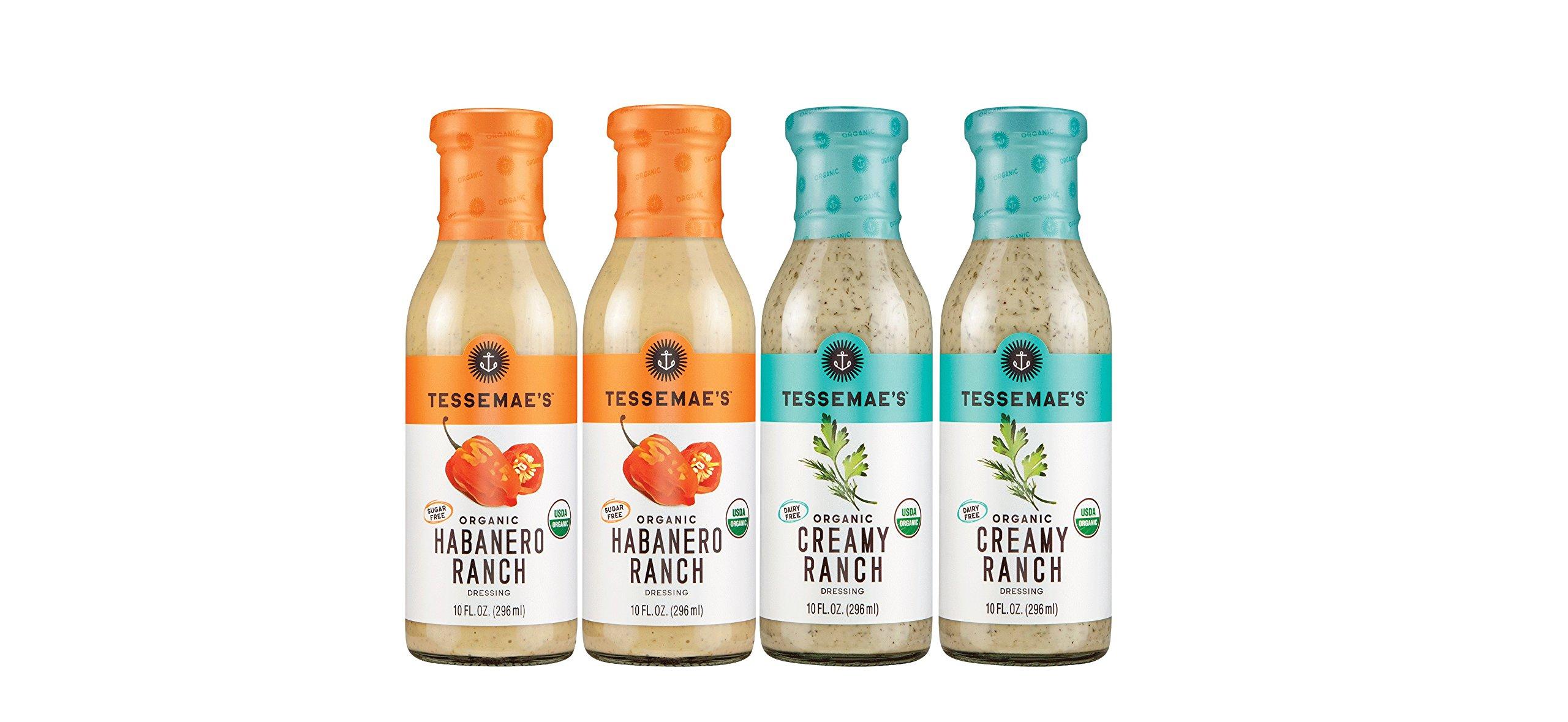 Tessemae's Ranch Salad Dressing 4-Pack (Habanero + Creamy)