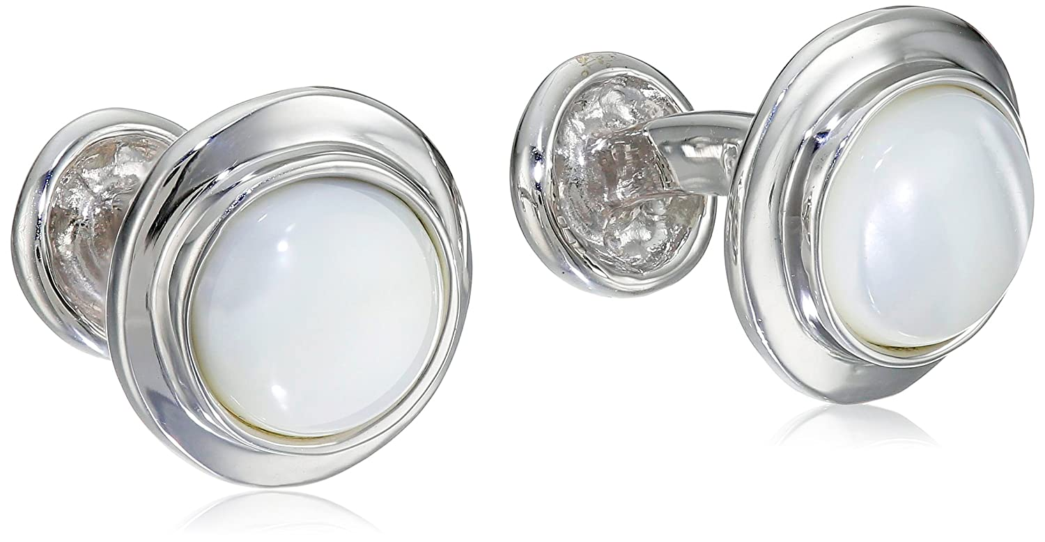 ROTENIER Classic Sterling Silver Globe Mother-Of-Pearl Cufflinks CL23-MOP