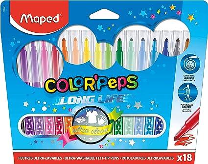 Maped Color Peps Long Life - Pack de 18 rotuladores con estuche de cartón: Amazon.es: Oficina y papelería
