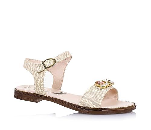 LIU JO - Sandalo beige in pelle, made in Italy, con chiusura con fibbia, logo e pietre decorative, Bambina, Ragazza, Donna-36