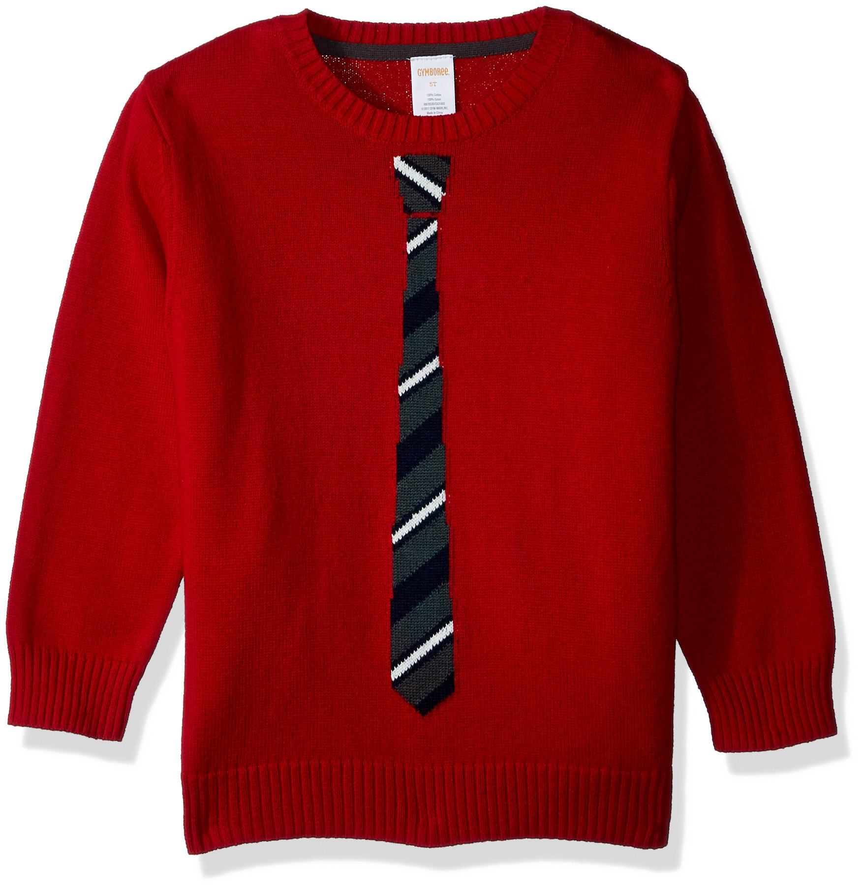 Gymboree Toddler Boys' Long Sleeve Crewneck Sweater Stripe Tie, Tango Red, 4T by Gymboree (Image #1)