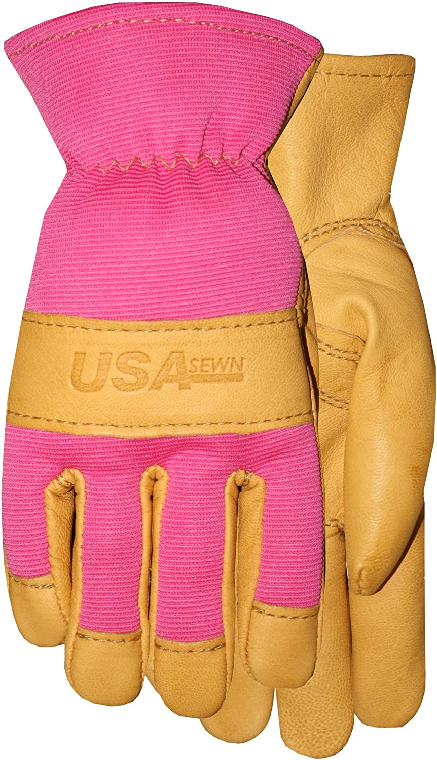 American Made Goatskin Leather Work or Garden Gloves with Leather Palm and Pink Spandex, 157P2, Size: 8