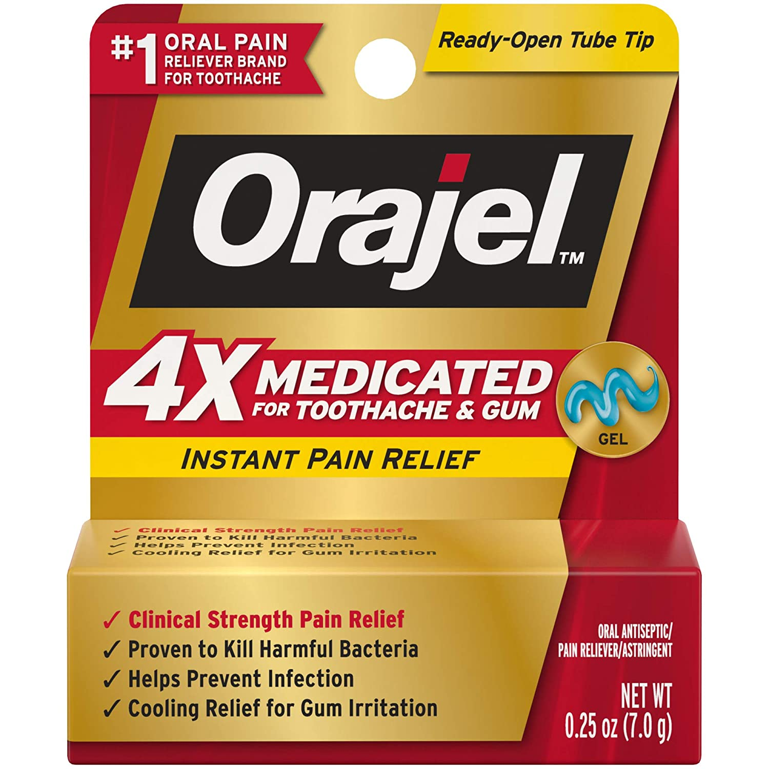 Orajel 4X Medicated For Toothache & Gum Gel, .25OZ