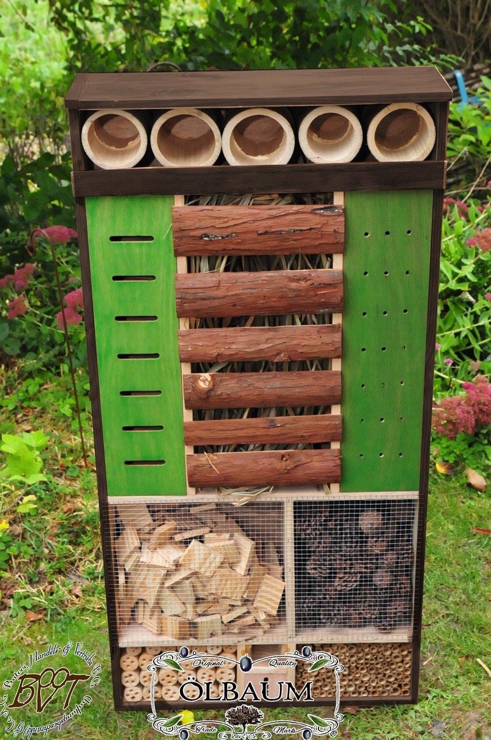 Insektenhotel, WETTERFEST, ca. 122 cm hoch, MEGA-XXL,NEU große Futterfläche HOLZHAUS-NATUR -Insektenhaus mit Futterstation,große Futterfläche
