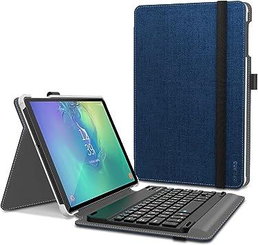 INFILAND Funda con Teclado para Samsung Galaxy Tab A 10.1 Pulgadas 2019 (T510/T515)-Equipada con un Teclado Bluetooth inalámbrico español-Carcasa de ...