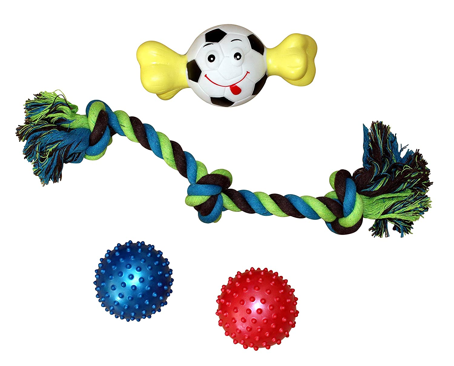 Joyful Pet- 4 Piece Dog Toy Bundle (1) 16.5 inch Rope Toy (2) Soft Spiked Chew Balls (1) Sport Ball Bone Squeaker Toy (Assorted)