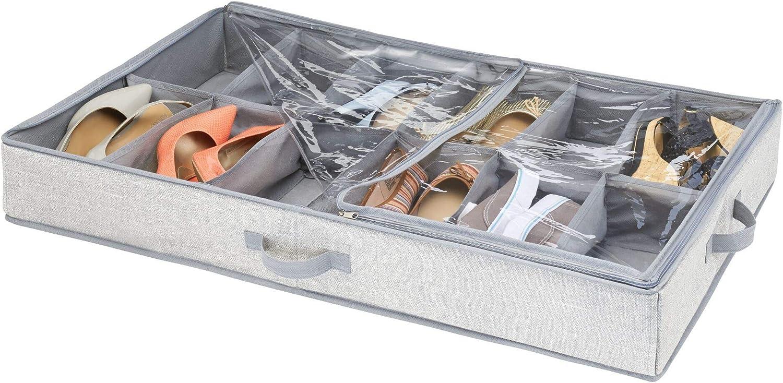 iDesign Aldo Under Bed Shoe Storage Box, Grey