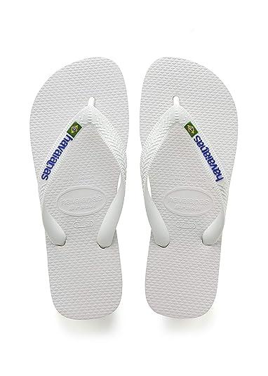 787330c21 Havaianas Brasil Logo, Unisex Adult's Flip Flops, White(White), 1/