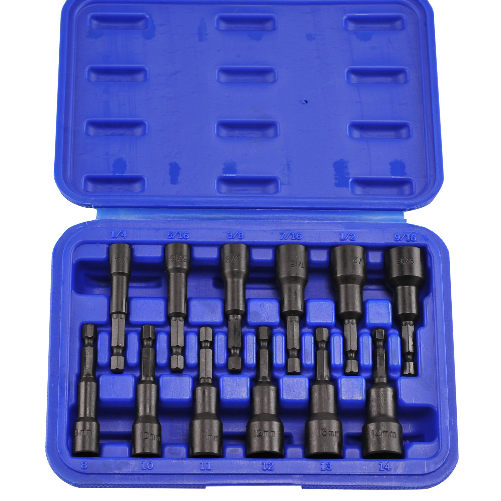Neiko 10250A Magnetic Hex Nut Driver Master Kit, Cr-V Steel | 1/4'' Quick-Change Hex Shank | SAE & Metric | 12-Piece Set by Neiko