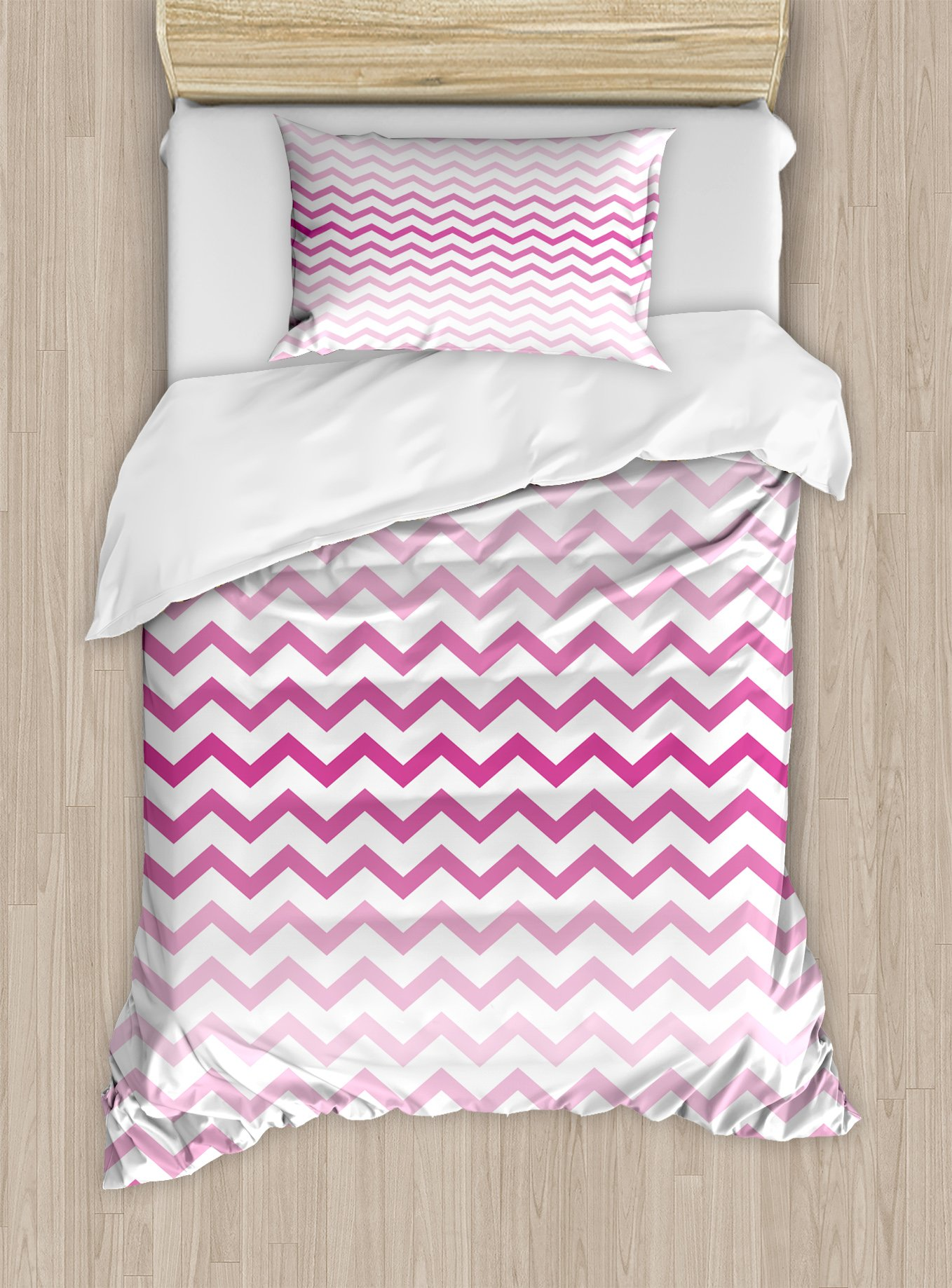 Ambesonne Pale Pink Duvet Cover Set Twin Size, Chevron Zigzag Pattern with Twisted Parallel Lines in Vibrant Tones Graphic, Decorative 2 Piece Bedding Set with 1 Pillow Sham, Magenta White